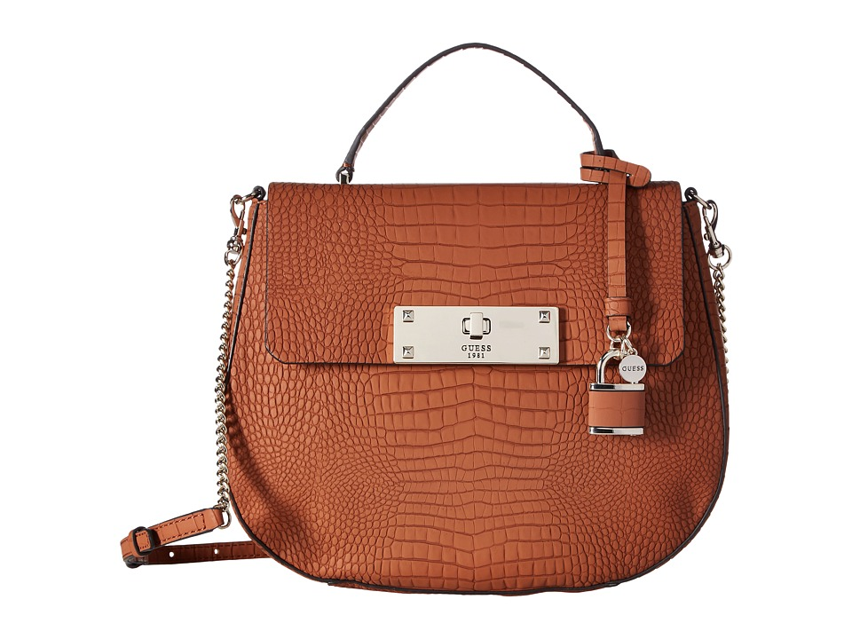 GUESS - Kyra Top-Handle Flap (Cognac) Tote Handbags