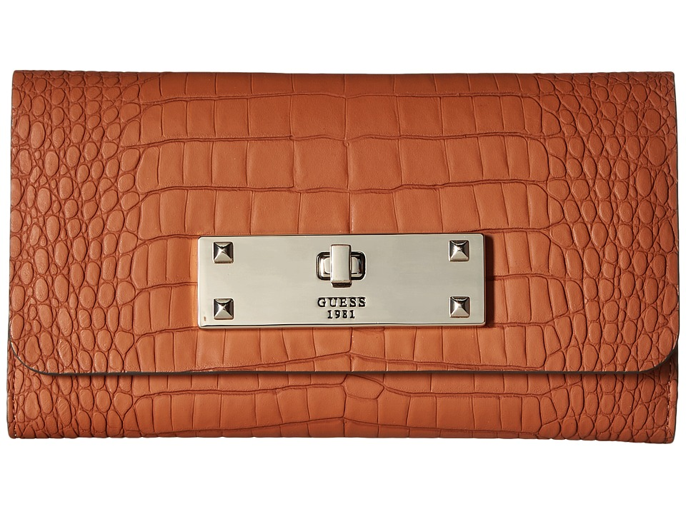 GUESS - Kyra SLG Slim Clutch (Cognac) Clutch Handbags