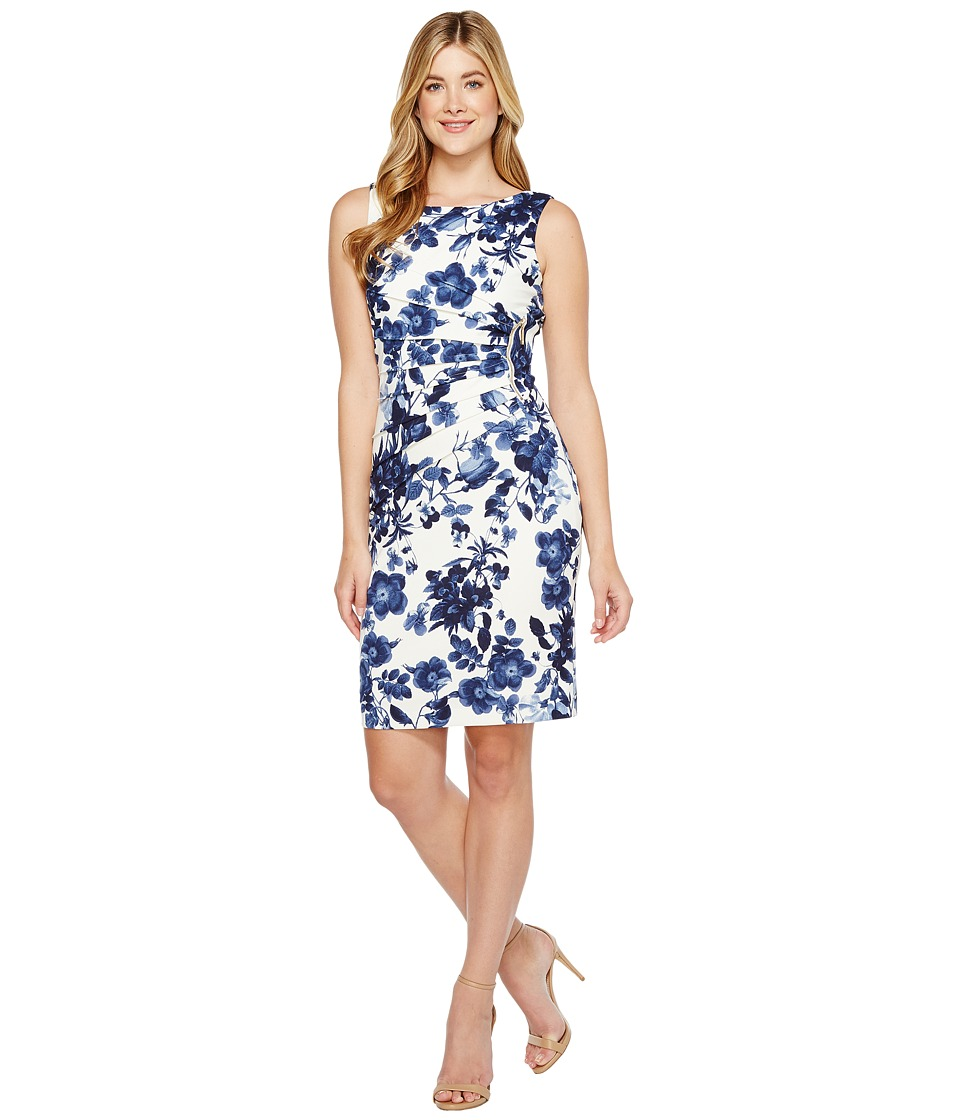 Ivanka Trump - Printed Floral Starburst (Ivory/Navy) Women's Dress