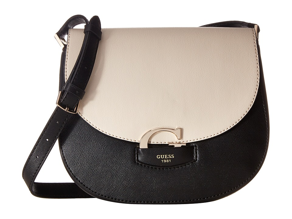 GUESS - Lexxi Saddle Bag (Stone Multi) Handbags