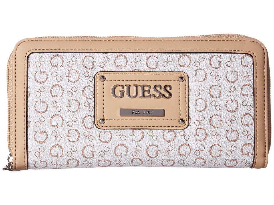 GUESS - Proposal SLG Zip Around Organizer (White) Handbags