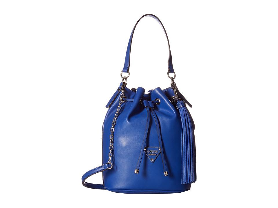 GUESS - Thompson Drawstring Bucket (Cobalt) Drawstring Handbags