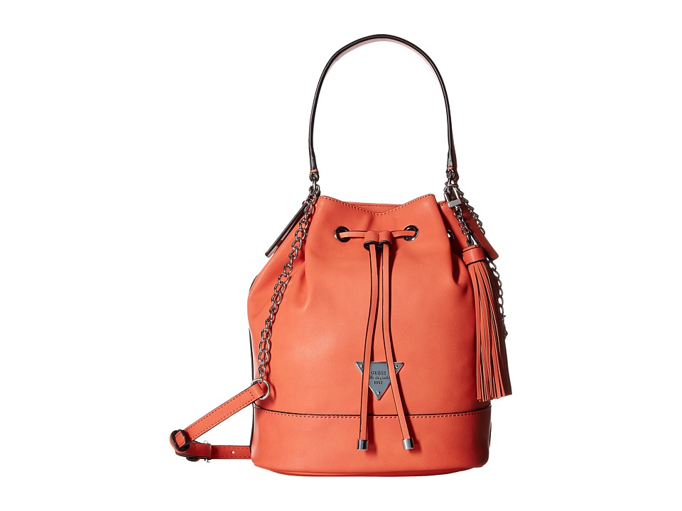 GUESS - Vero Beach Drawstring Bucket (Coral) Drawstring Handbags