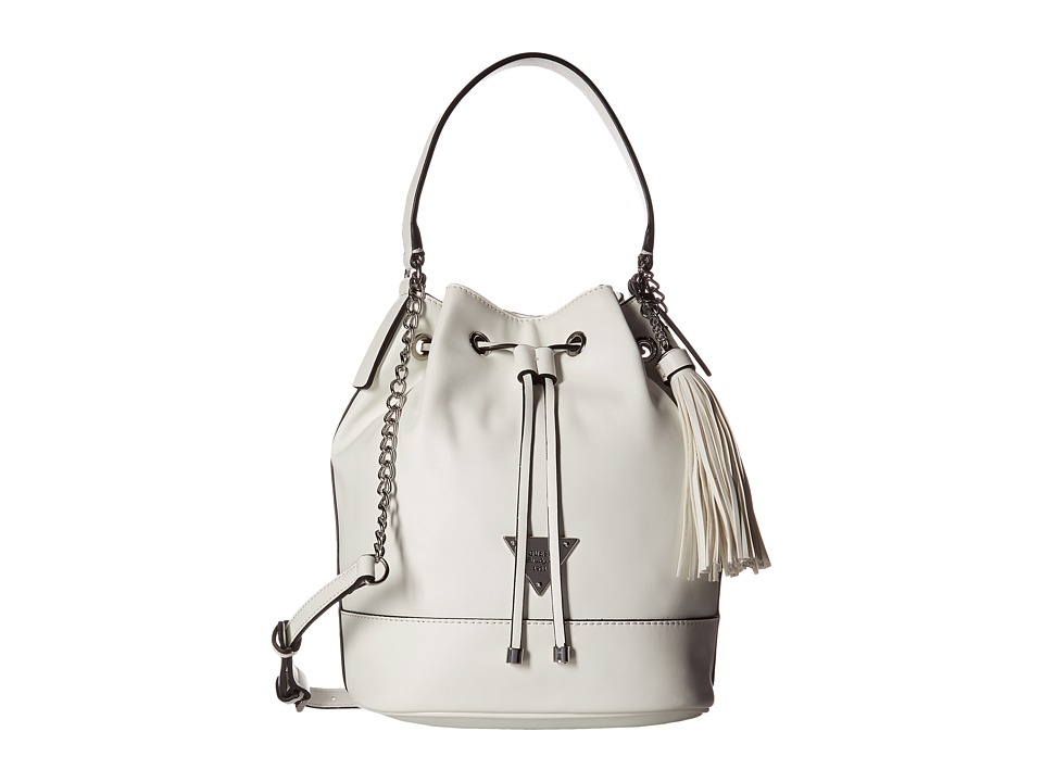 GUESS - Vero Beach Drawstring Bucket (White) Drawstring Handbags