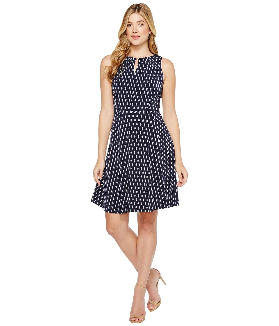 Ivanka Trump - Printed Matte Jersey A-Line with Hardware Ball (Navy/Ivory) Women's Dress