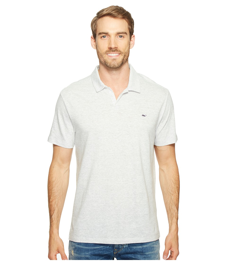 Vineyard Vines - Yarn-Dyed Feeder Stripe Linen Polo (Gray Heather) Men's Clothing