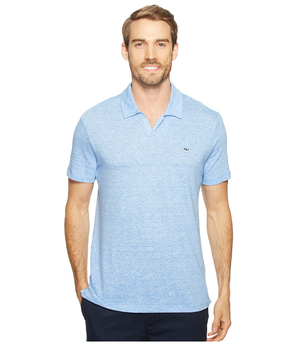 Vineyard Vines - Yarn-Dyed Feeder Stripe Linen Polo (Bimini Blue) Men's Clothing