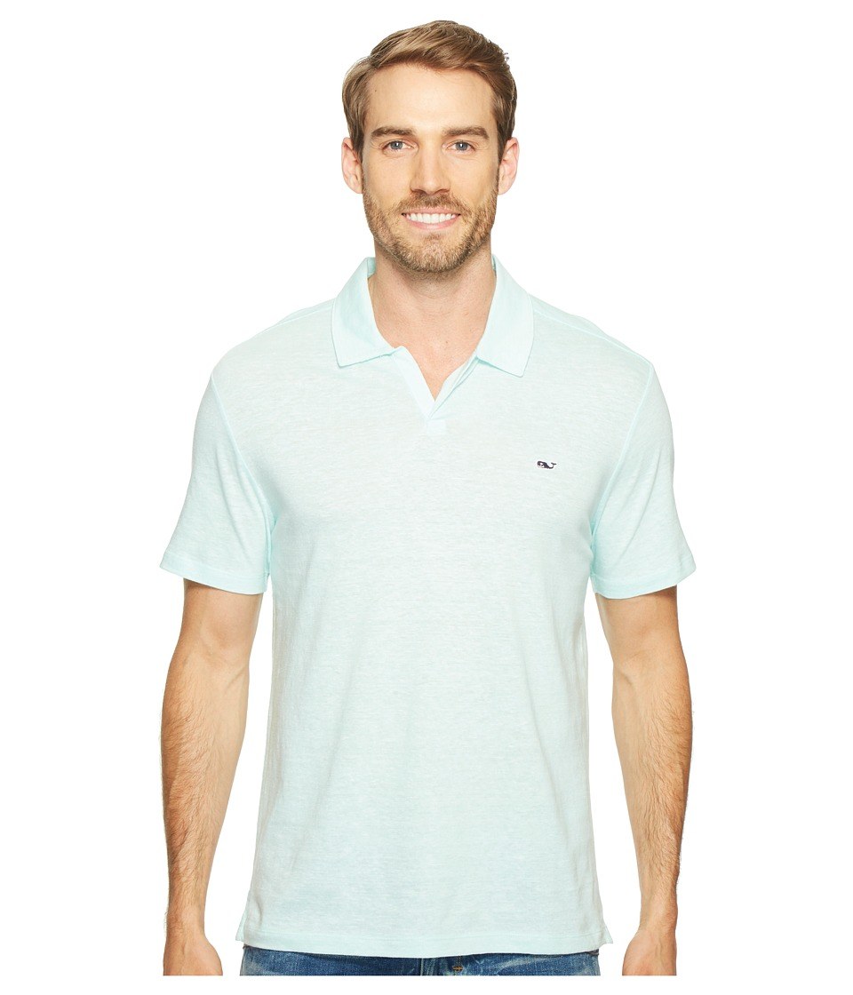Vineyard Vines - Yarn-Dyed Feeder Stripe Linen Polo (Blue Fin) Men's Clothing