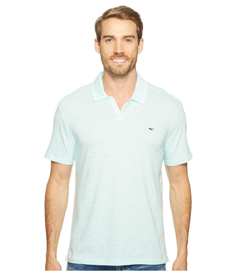 Vineyard Vines - Yarn-Dyed Feeder Stripe Linen Polo (Blue Fin) Men's Clothing