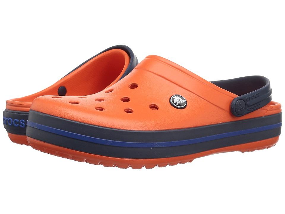 Crocs Crocband Clog (Tangerine/Navy) Clog Shoes