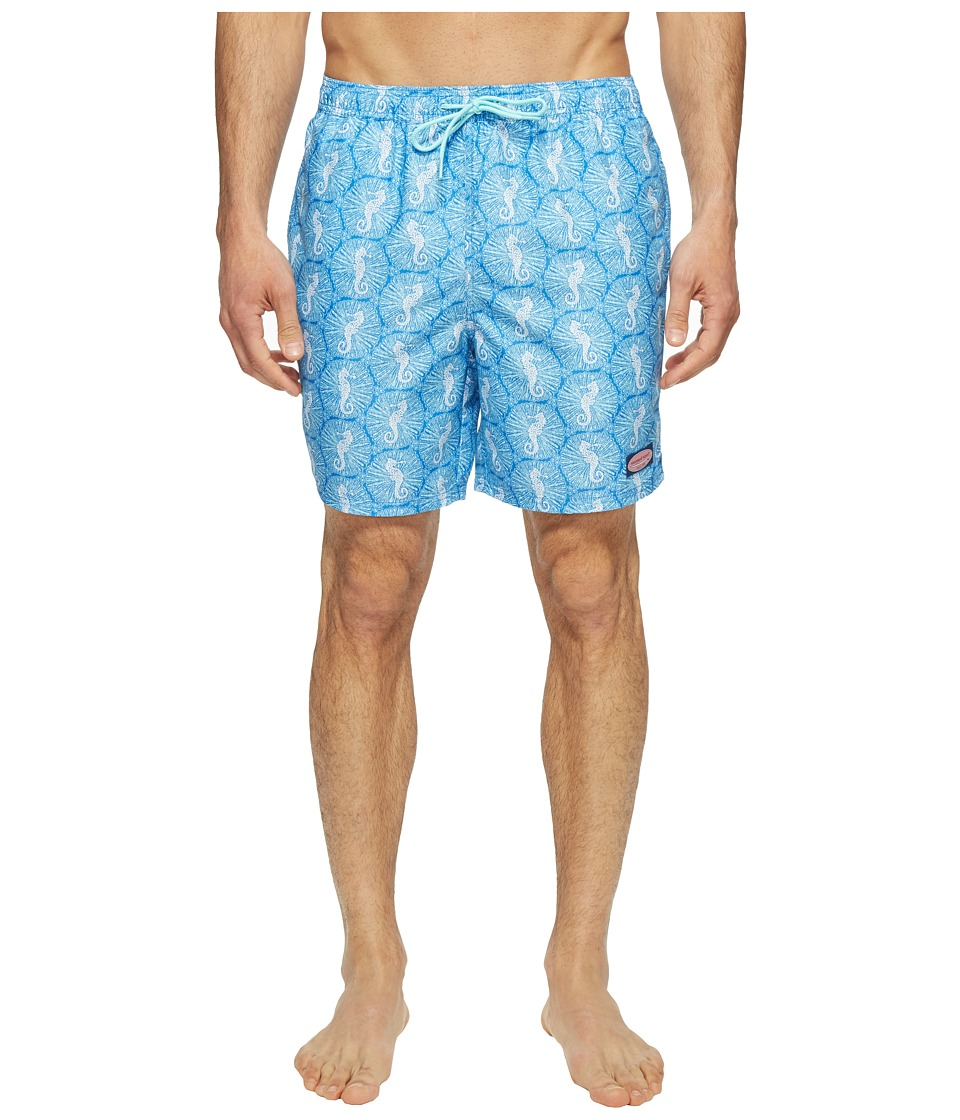 Vineyard Vines - Seahorse Dot Bungalow (Azure Blue) Men's Swimwear