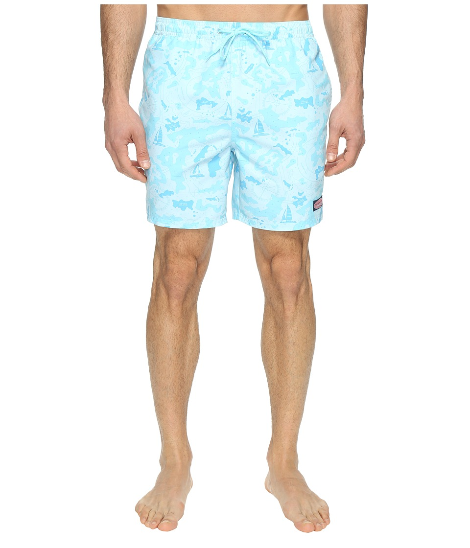Vineyard Vines - Nautical Island Map Bungalow (Boathouse Blue) Men's Swimwear