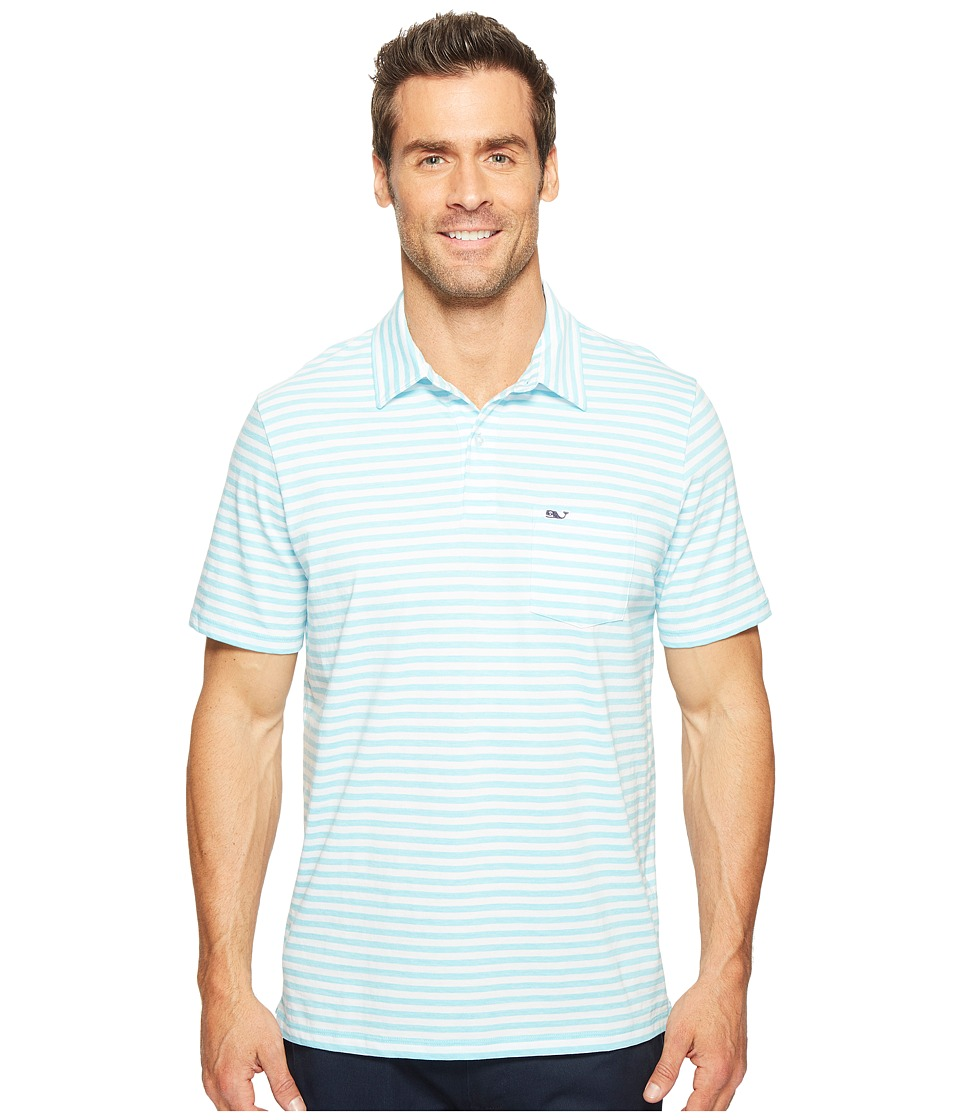 Vineyard Vines - Pin Stripe Jersey Polo (Turquoise) Men's T Shirt