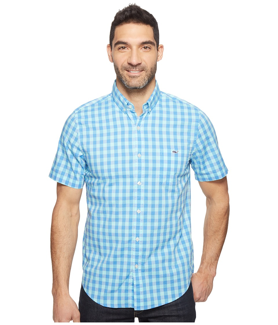 Vineyard Vines - Short Sleeve Ft. George Check Slim Tucker Shirt (Bimini Blue) Men's T Shirt