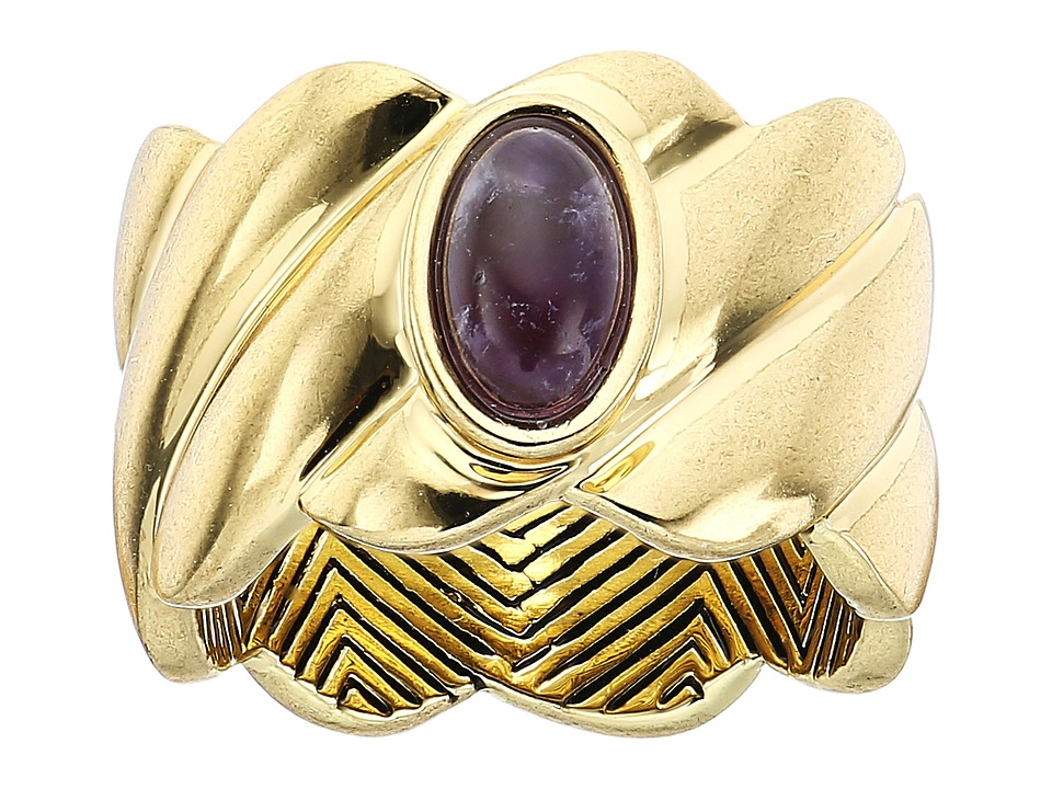 House of Harlow 1960 - Ribbed Valda Ring (Amethyst) Ring