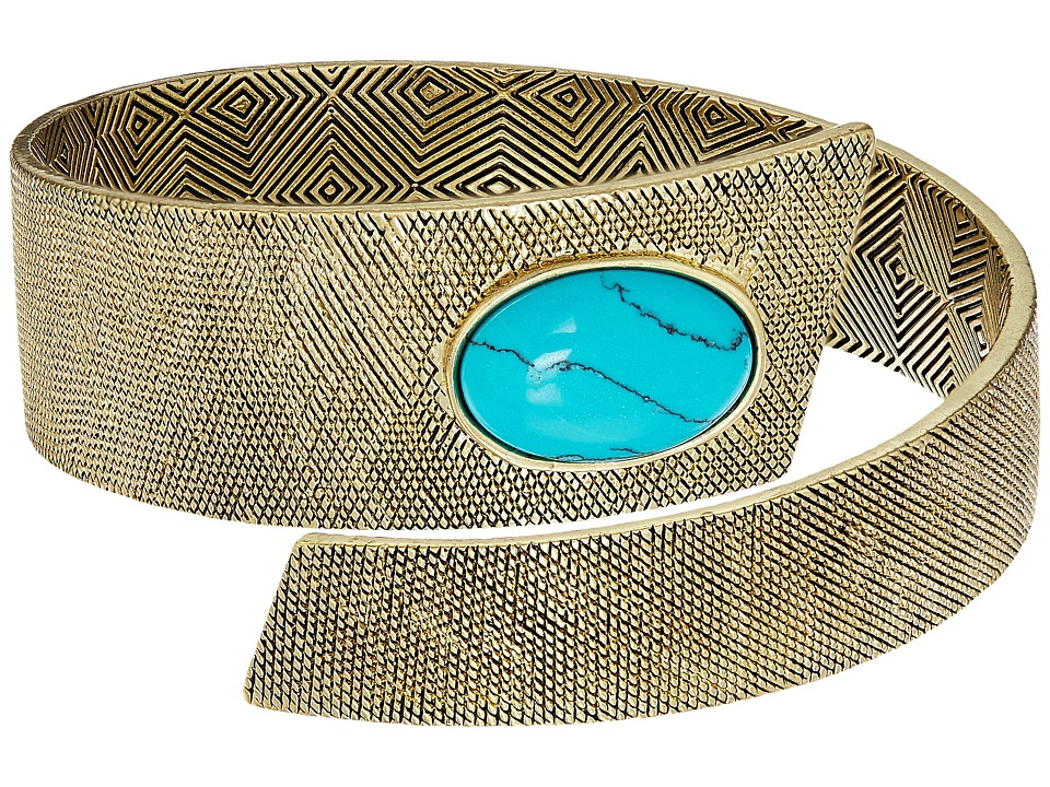 House of Harlow 1960 - Tanta Crosshatch Bangle (Gold/Blue) Bracelet