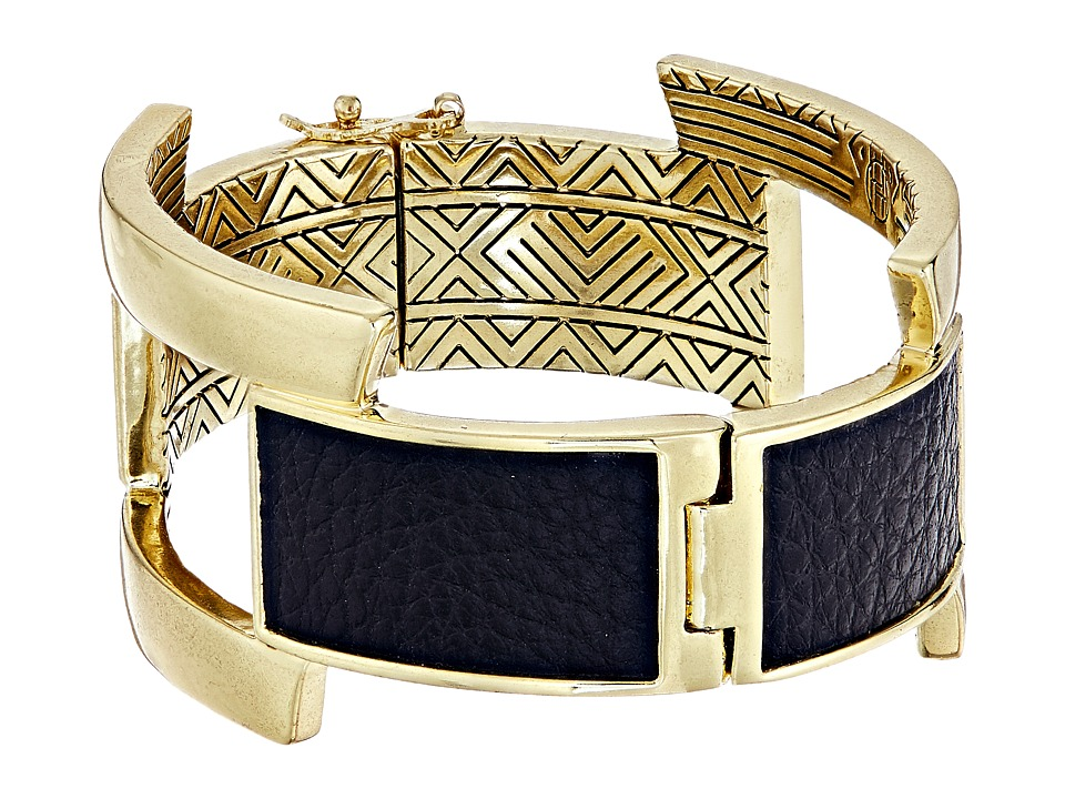 House of Harlow 1960 - Coronado Buckle Hinge Bracelet (Gold/Black) Bracelet