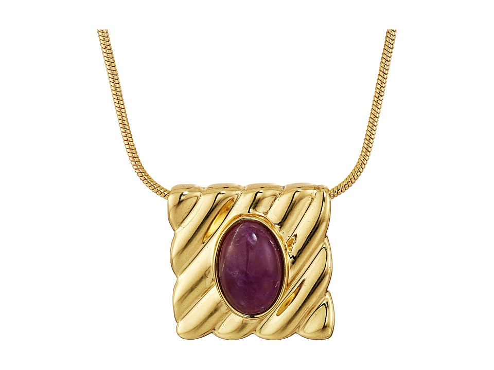 House of Harlow 1960 - Ribbed Valda Pendant Necklace (Amethyst) Necklace