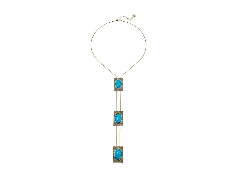 House of Harlow 1960 - Tanta Crosshatch 3 Tier Square Bolo Pendant Necklace (Gold/Blue) Necklace