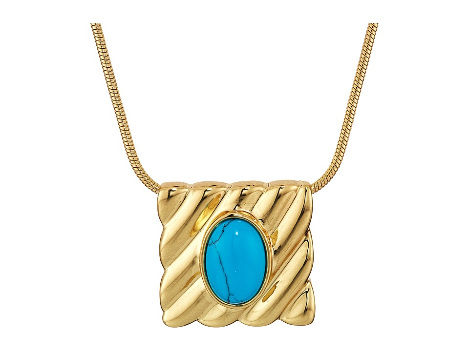 House of Harlow 1960 - Ribbed Valda Pendant Necklace (Turquoise) Necklace