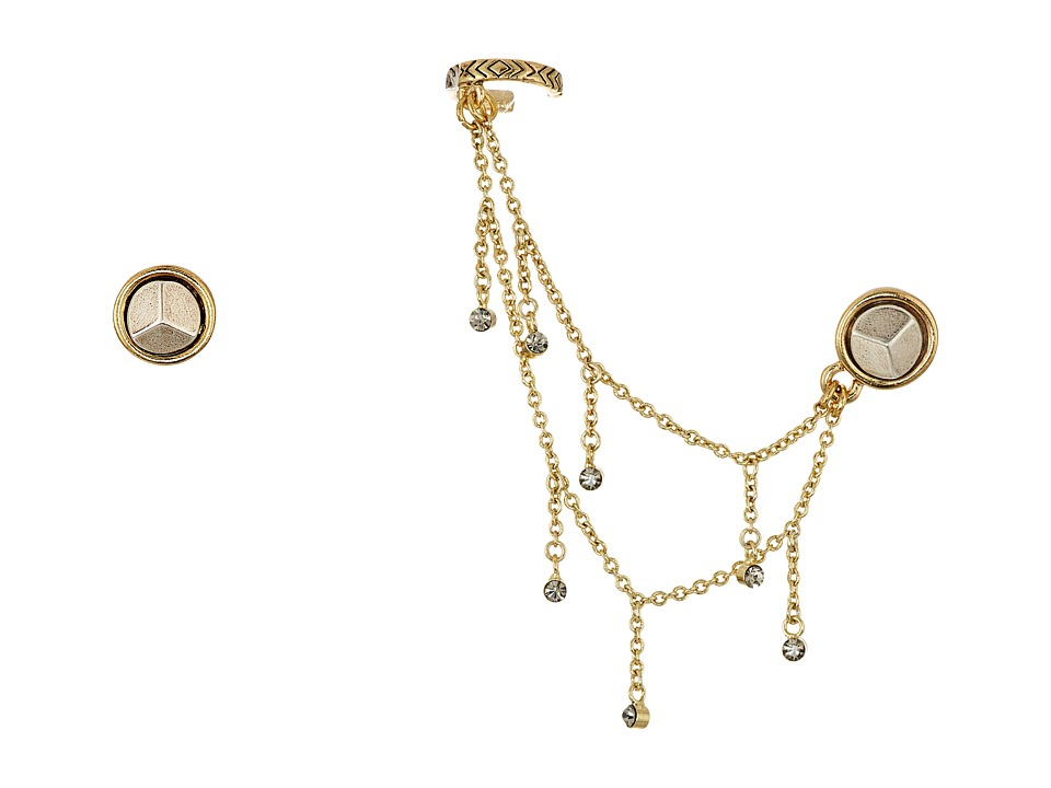 House of Harlow 1960 - Coronado Dangle Chain Ear Cuff Set Earrings (Gold/Silver) Earring