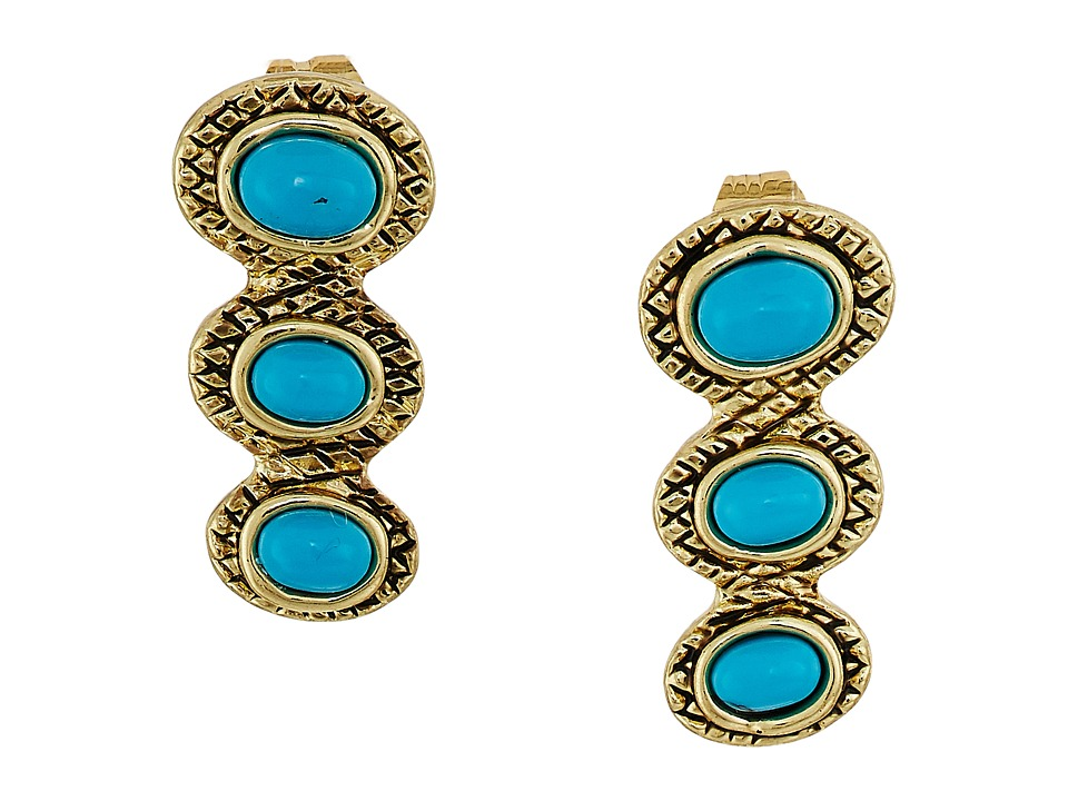 House of Harlow 1960 - Tanta Crosshatch 3 Stone Ear Crawler Earrings (Gold/Blue) Earring