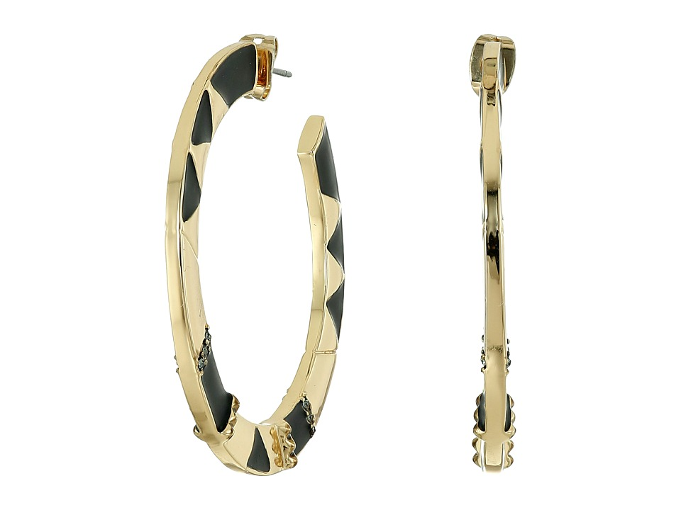 House of Harlow 1960 - Nelli Hoop Earrings (Gold/Black) Earring