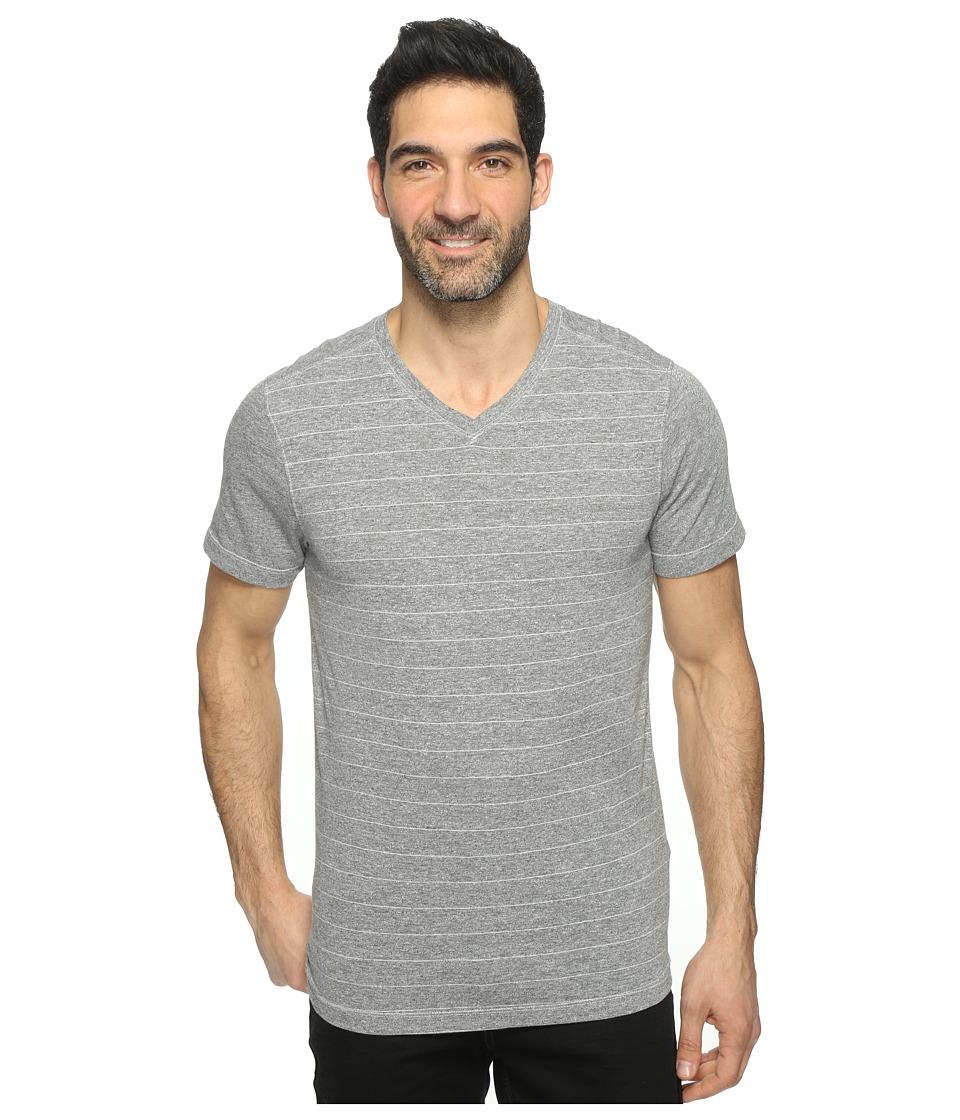 Agave Denim - Hal Short Sleeve V-Neck Tri-Blend Jersey Stripe Block (Heather Gray) Men's Clothing