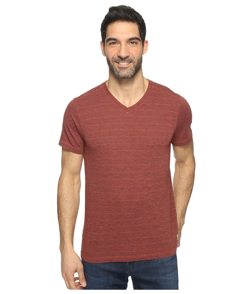 Agave Denim - Hal Short Sleeve V-Neck Tri-Blend Jersey Stripe Block (Tandoori Spice) Men's Clothing