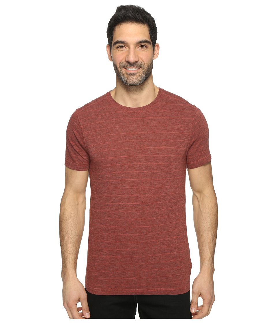 Agave Denim - Pete Short Sleeve Crew Neck Tri-Blend Stripe (Tandoori Spice) Men's Clothing
