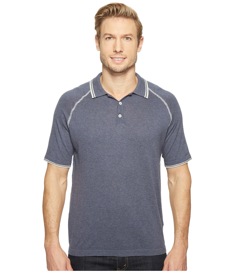 Agave Denim - Watson 100% Supima Short Sleeve Polo w/ Tipping (Ombre Blue) Men's Clothing