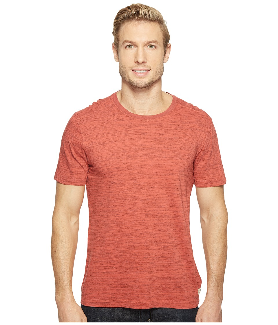 Agave Denim Leroy Short Sleeve Crew Marble Stripe (Tandoori Spice) Men's Long Sleeve Pullover