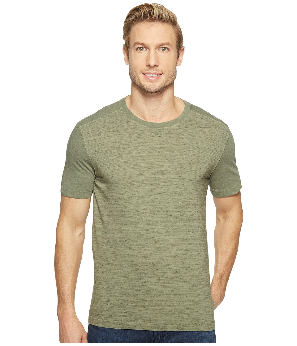 Agave Denim - Chuck Short Sleeve Crew Neck Blocked Marble Stripe (Deep Lichen Green) Men's Long Sleeve Pullover