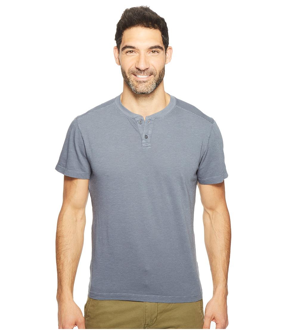Agave Denim - Miki Short Sleeve Henley Slub Stripe (Ombre Blue) Men's Short Sleeve Pullover
