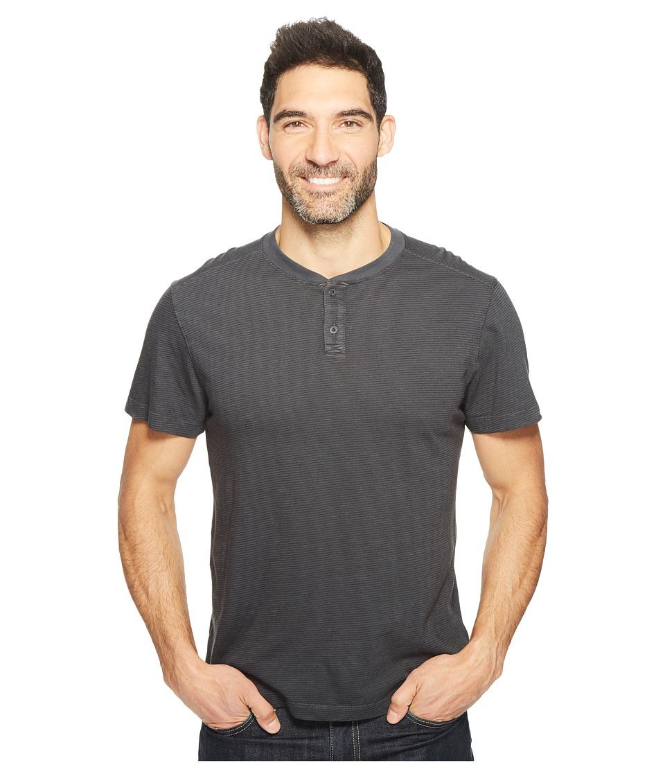 Agave Denim - Miki Short Sleeve Henley Slub Stripe (Stretch Limo) Men's Short Sleeve Pullover