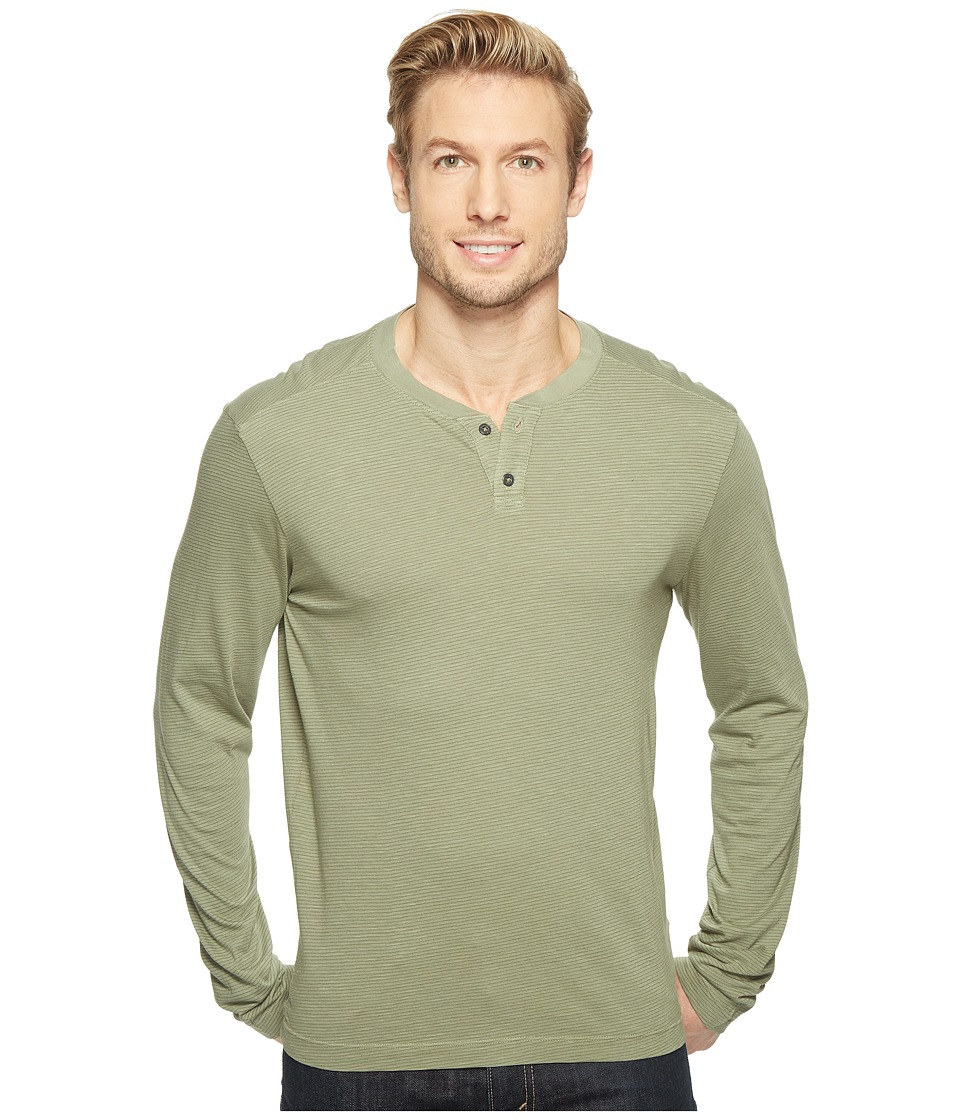 Agave Denim Cliff Long Sleeve Henley Slub Stripe (Deep Lichen Green) Men's Long Sleeve Pullover