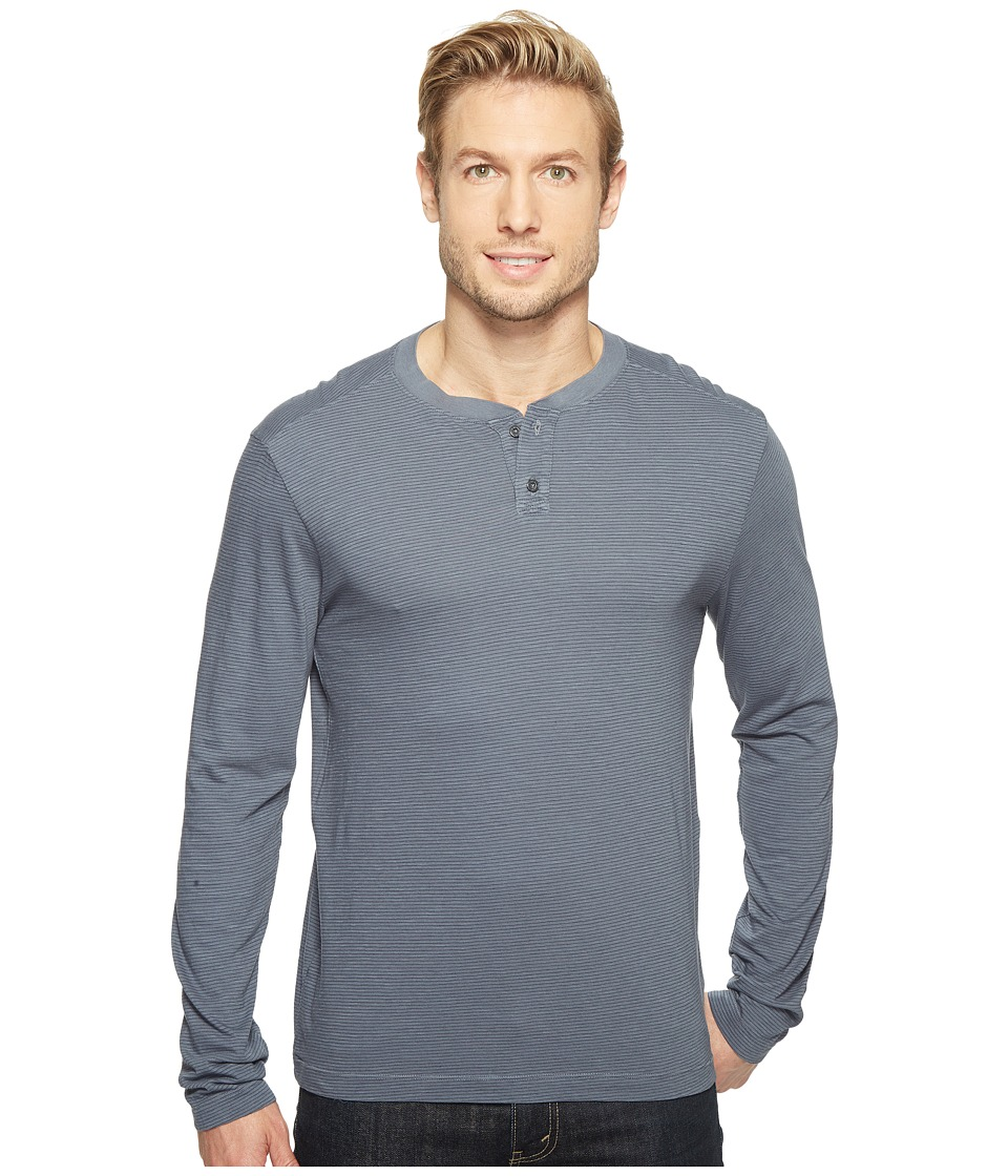 Agave Denim - Cliff Long Sleeve Henley Slub Stripe (Ombre Blue) Men's Long Sleeve Pullover