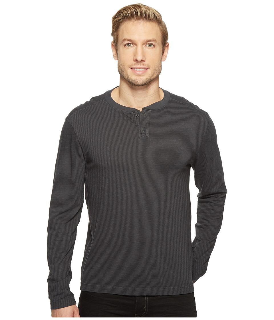 Agave Denim - Cliff Long Sleeve Henley Slub Stripe (Stretch Limo) Men's Long Sleeve Pullover