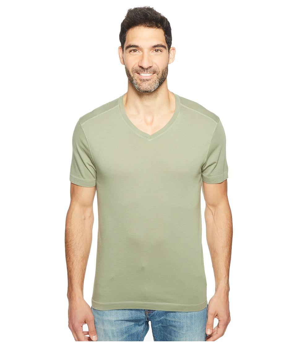 Agave Denim - Kerbox Short Sleeve V-Neck Supima Modal (Deep Lichen Green) Men's Short Sleeve Pullover