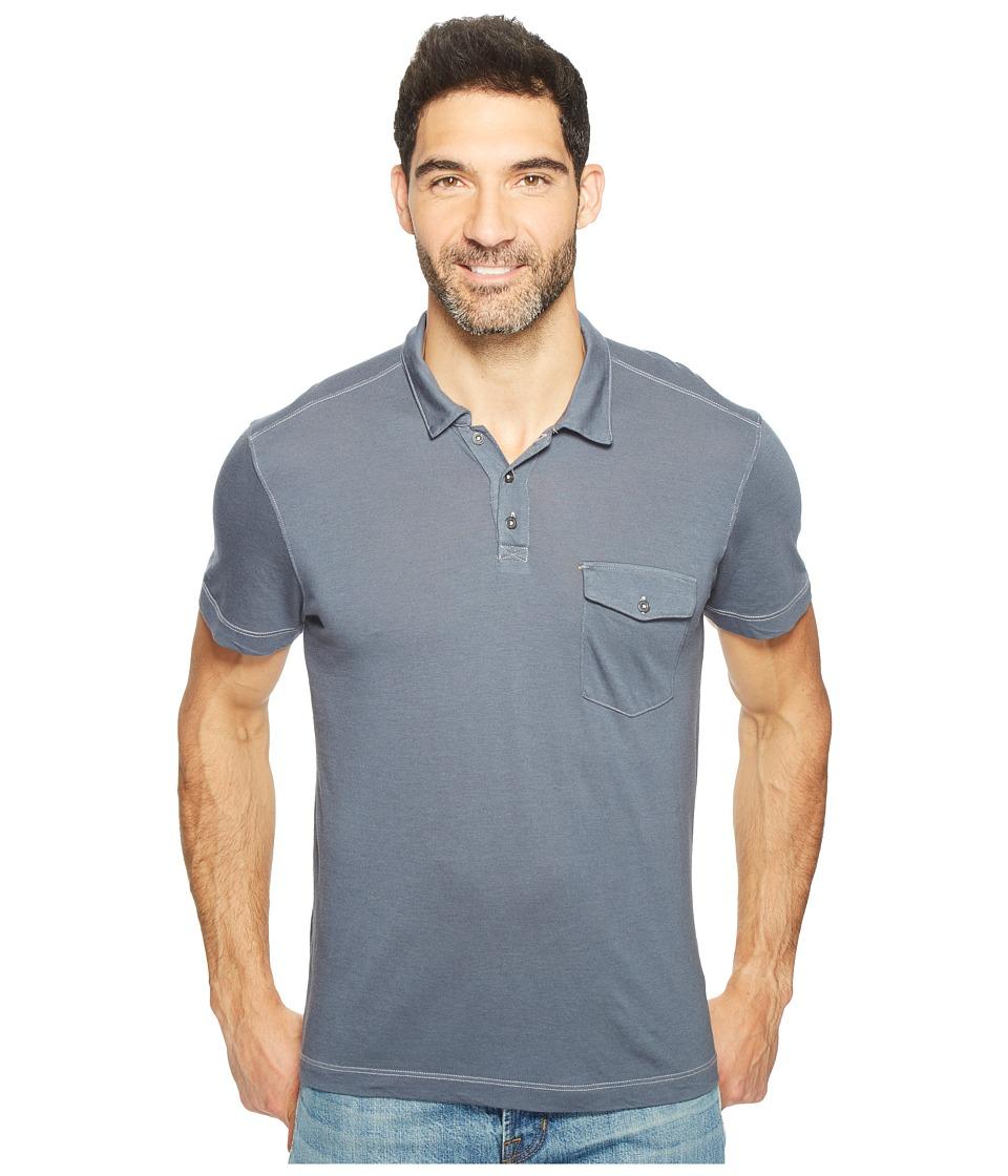 Agave Denim - Spicoli Short Sleeve Rugby Polo Supima Modal (Ombre Blue) Men's Short Sleeve Pullover