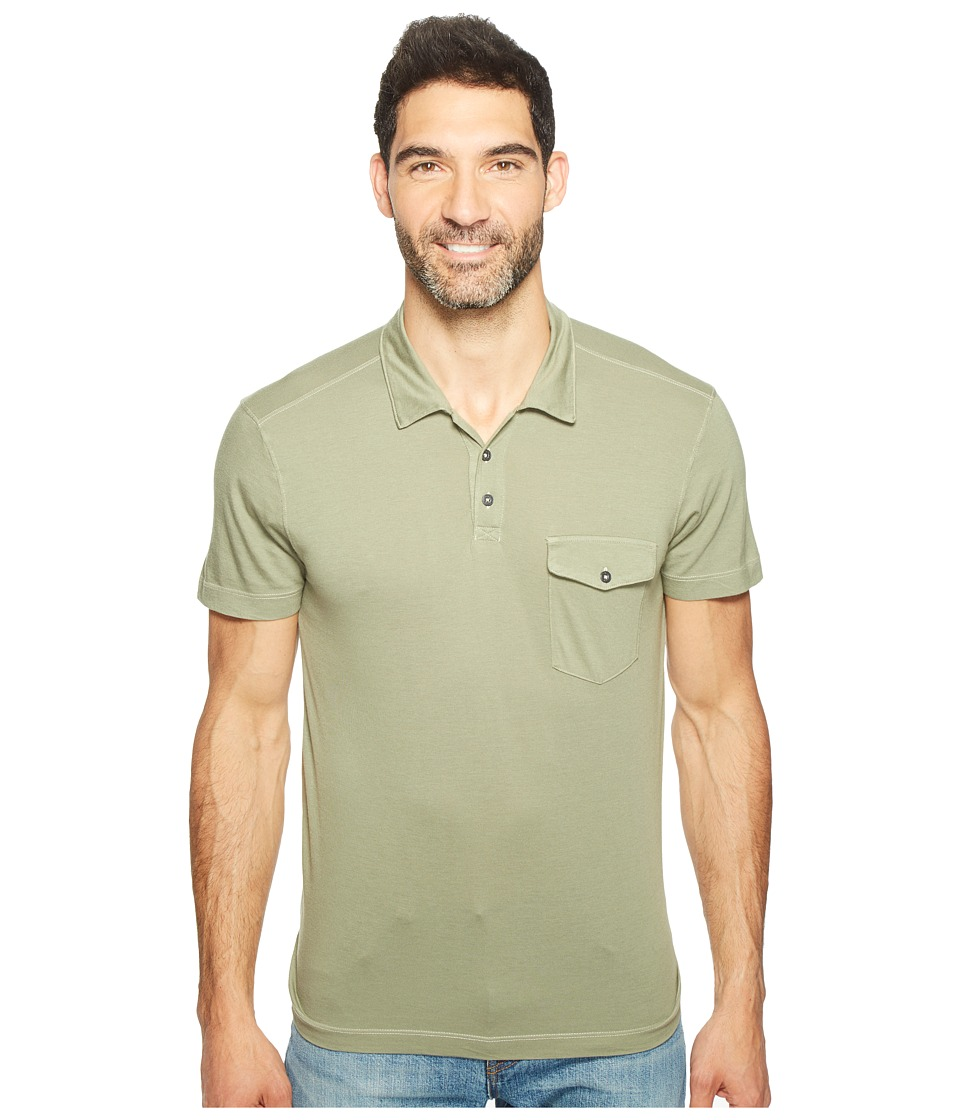 Agave Denim - Spicoli Short Sleeve Rugby Polo Supima Modal (Deep Lichen Green) Men's Short Sleeve Pullover