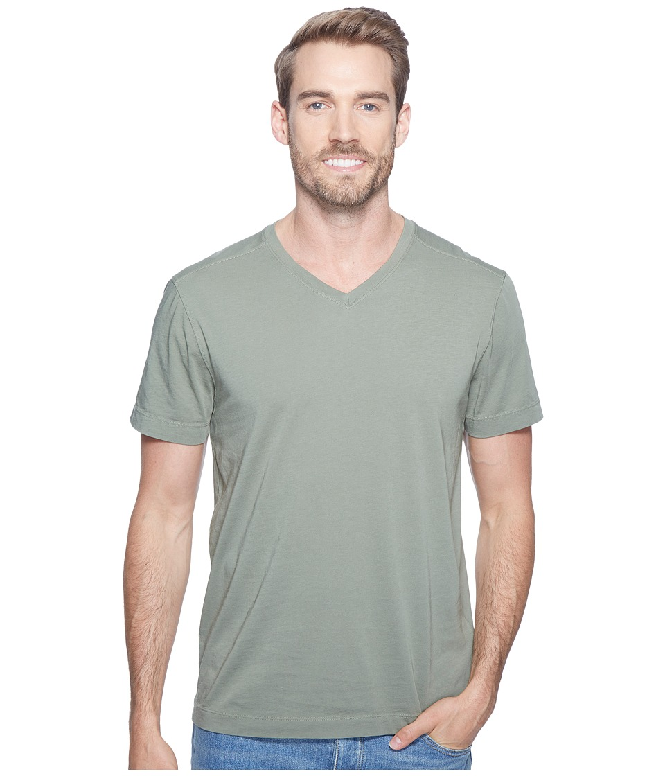 Agave Denim - Agave Supima Vee Neck Short Sleeve Tee (Deep Lichen Green) Men's T Shirt