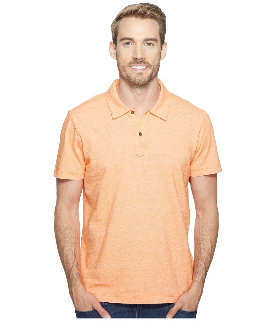 Agave Denim - Short Sleeve Polo Italian Pique in Orange (Orange) Men's Clothing