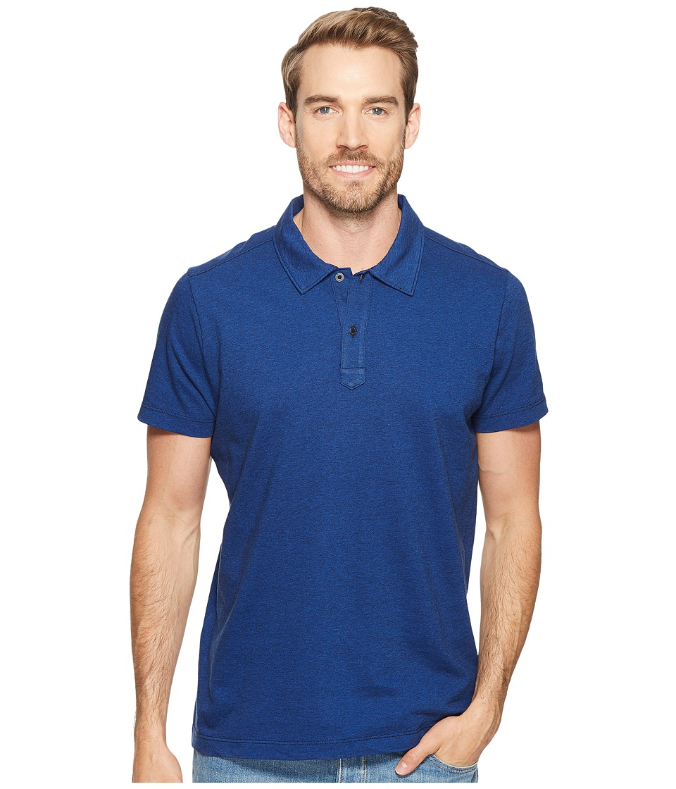 Agave Denim - Short Sleeve Polo Italian Pique in Cobalt (Cobalt) Men's Clothing