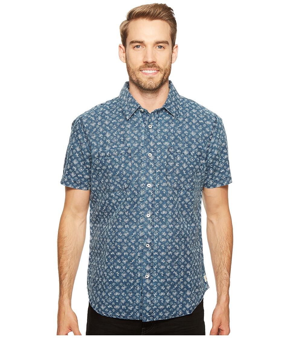 Agave Denim - Bougainvillea Vine Short Sleeve Button Up (Indigo Rinse) Men's Short Sleeve Button Up