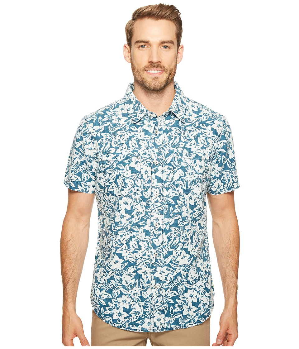 Agave Denim - Isla Vista Bloom Linen Short Sleeve Button Up (Indigo Fade) Men's Short Sleeve Button Up