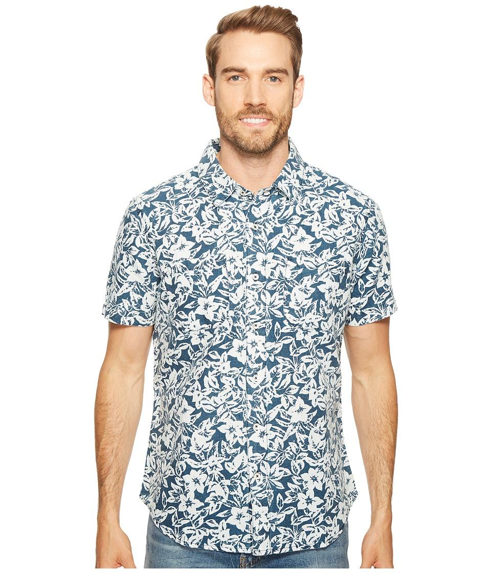 Agave Denim - Isla Vista Bloom Linen Short Sleeve Button Up (Indigo Rinse) Men's Short Sleeve Button Up