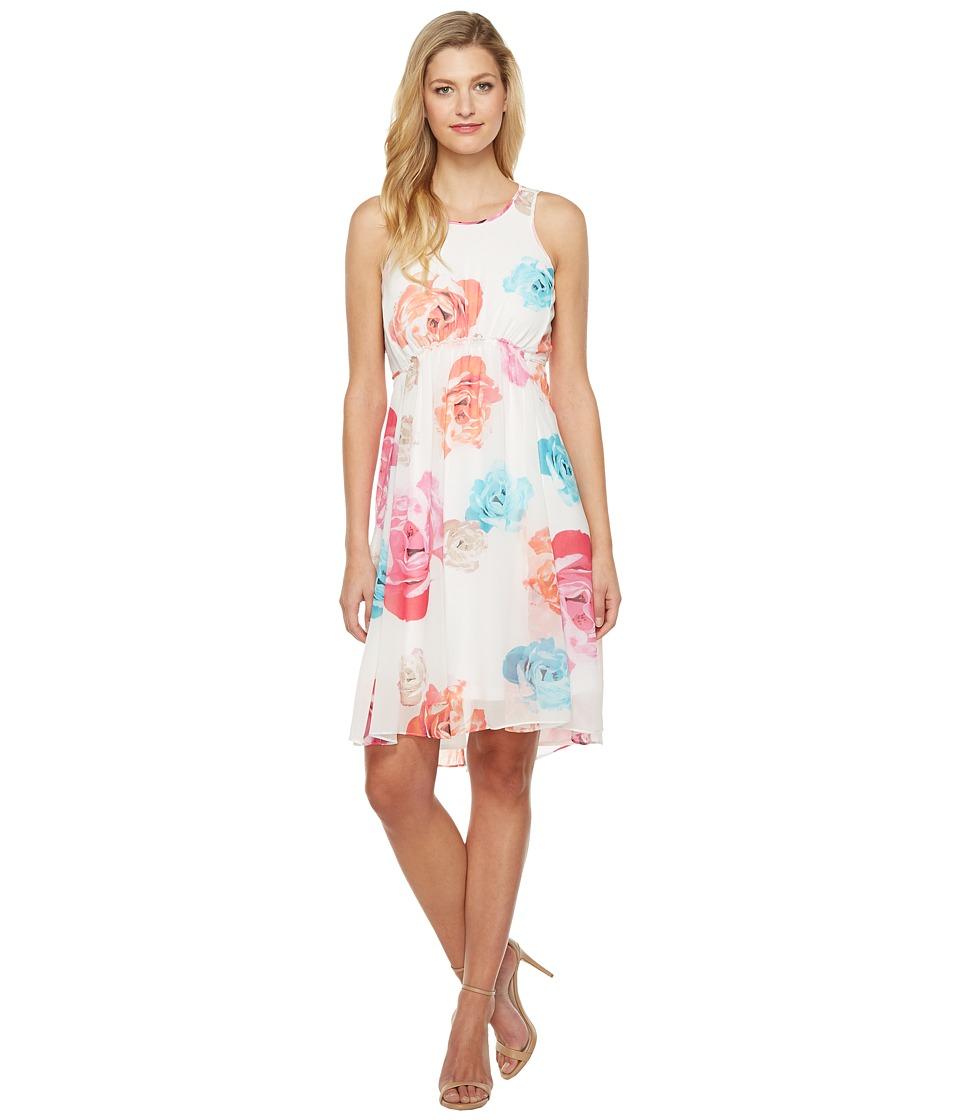 Calvin Klein High-Low Chiffon Dress CD7H234V (White Multi) Women