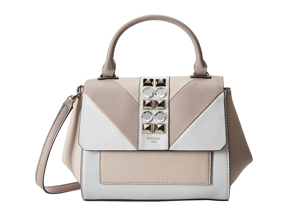 GUESS - Evette Top Handle Flap (Powder Multi) Handbags
