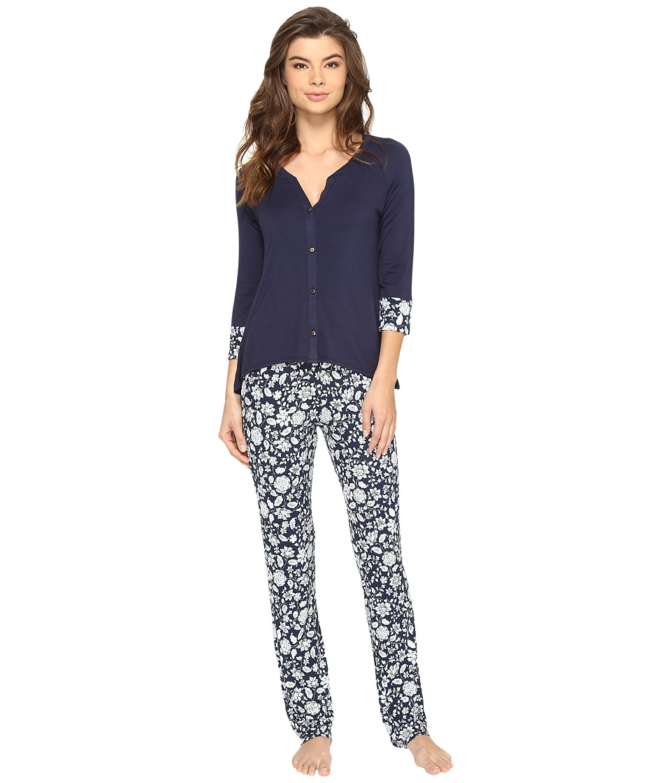 Lucky Brand - Button Down Pajamas (Breeze Floral) Women's Pajama Sets